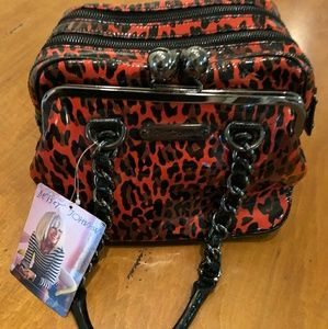 Betsey Johnson Red Liquid Leopard Satchel